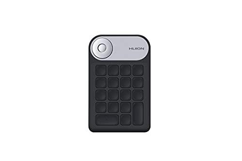 Tastiera Huion Mini KeyDial KD100 Connessioni Senza Fili e Cablate Supportate Tastiera con Controller Quadrante e 18 Tasti Programmabili, Batteria a Lunga Durata Tastiera Supporto Tavola Grafica