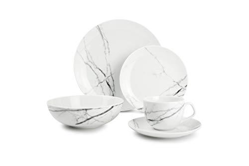 Salt&Pepper , Service de table en marbre 20 pièces, pour 4 personnes, aspect marbre, fabriqué en Europe, blanc/structure en marbre