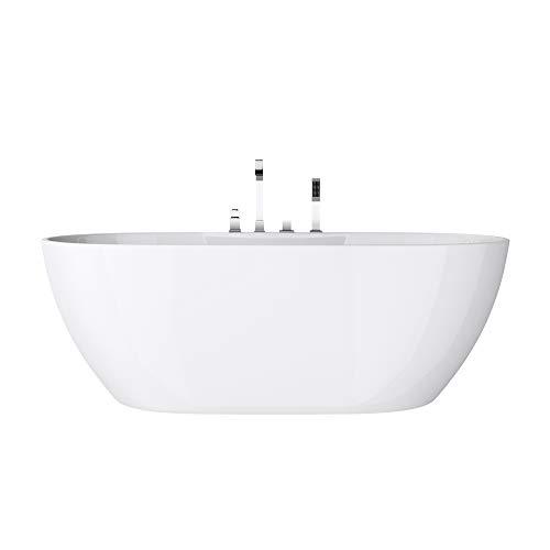 doporro Freistehende Badewanne inkl. Armatur Vicenza605 170x80x60cm mit Ablaufgarnitur und Überlauf aus Acryl in Weiß DIN-Anschlüssen