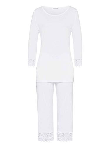Hanro Damen Moments Nw Pyjama 3/4 Arm Zweiteiliger Schlafanzug, Weiß (White 0101), 44 (Herstellergröße: M)