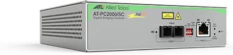 Allied Telesis PC2000/SC Transceiver/Media Converter - Network (RJ-45) - 1x PoE+ (RJ-45) Ports - 1 x SC Ports - Multi-mode - Gigabit Ethernet - 10/100/1000Base-T, 1000Base-SX - Standalone, Wall Mounta