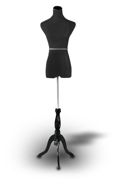 Black Female Mannequin Dress Form Size 2-4 Small 35' 24' 33' (On Black Tripod Stand)