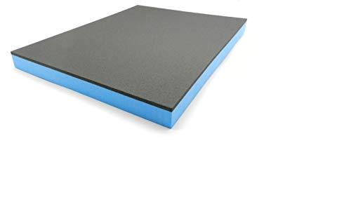 Werkzeugeinlage Hartschaumstoff Systemeinlage Shadow Board Schaumeinlage für Werkzeugwagen, schwarz-blau 20-50 mmm dick (400 x 500 x 35 mm)