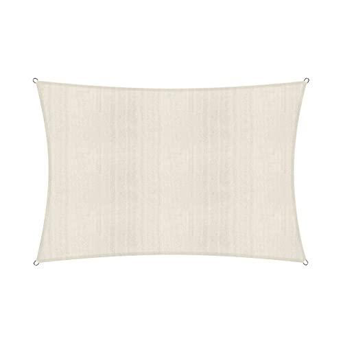 Lumaland toldo Vela de Sombra 100% Polietileno de Alta Densidad Filtro UV Incl Cuerdas Nylon 3x4 Crema
