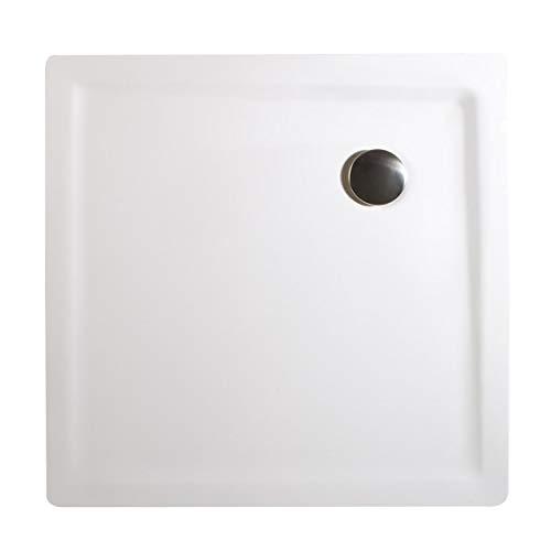 Schulte EP212090 04 Duschwanne extra-flach Quadrat, 90 x 90 cm, Mineralguss, alpinweiß, inkl. Füße und Ablauf, für bequemen Einstieg