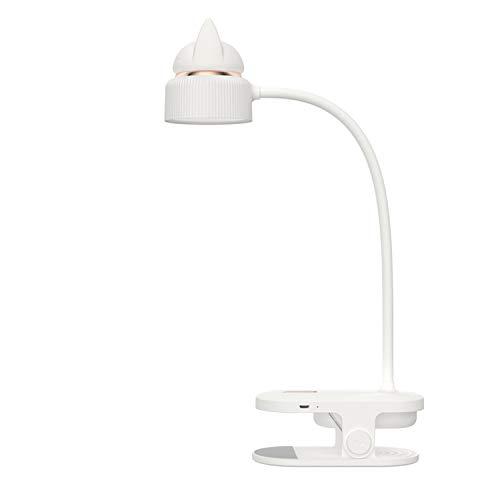 ACMHNC Luz de Lectura Con Pinza, LED Lámpara de Escritorio Táctil Regulable Con Luz Nocturna Recargable USB, 3 Niveles de Brillo Luz de Clip, Lámparas de Libro Flexibles 360 ° Lámpara de Cama,Blanco