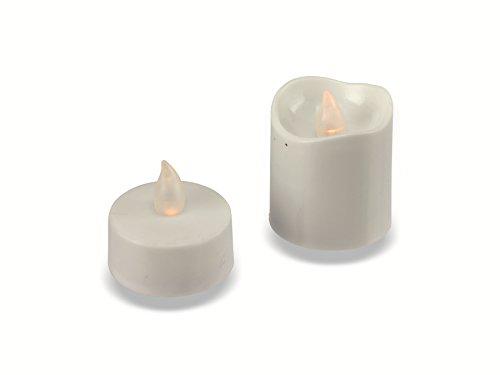 Grundig Lot de 16 Bougies Chauffe-Plat a LED - 2 Tailles Assorties - ø 3,7 cm - Blanc