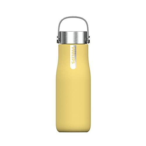 Phillips Go Zero Smart Bottle - Botella de agua UVC-LED Autolimpiable, Acero Inoxidable, Libre de BPA