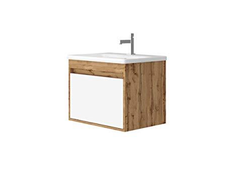 Malta Waschtisch MONTIERT | Waschbecken aus Keramik | Grifflos Optik | Waschbecken mit Unterschrank | Montagefertig | Weiß lackiert | Holzdekor Eiche (Eiche Dekor, 65)