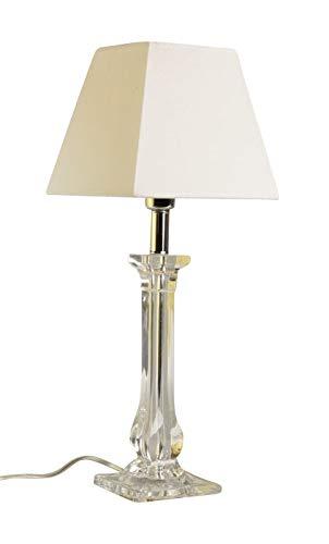 anTes interieur Tischleuchte Minerva weiß mit 10 Watt LED-Leuchtmittel/Stoffschirm/Acryl/Metall verchromt/50 cm hoch/Nachttischlampe Wohnzimmer Schlafzimmer