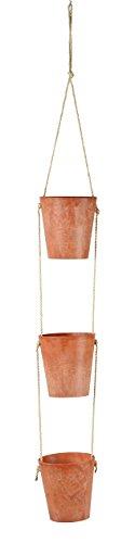 Artstone Blumenampel 3x Pflanzgefäß Claire, frostbeständig und leichtgewichtig, 10 x 11 cm, orange/terra
