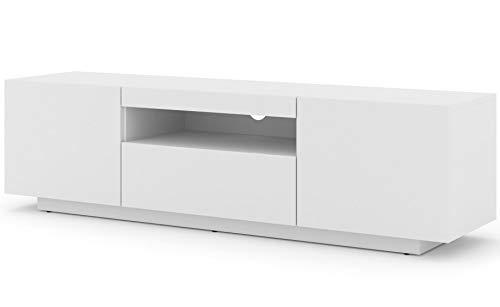Mueble bajo para TV Aura de 150 cm, para colgar o de pie, universal, mueble para televisión, aparador, mesa de alta fidelidad (blanco mate sin LED)