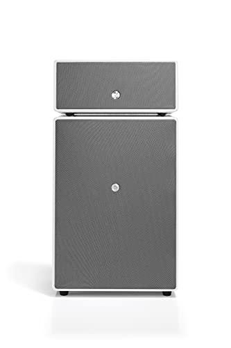 Altavoz Activo Hi-Fi Inalámbrico Bluetooth Multiroom con Reflejo de Graves, Conexión Wi-Fi, Apple Air Play, Spotify - Speaker Potente Subwoofer Activo - Amplificador 300W - Audio Pro Drumfire - Blanco