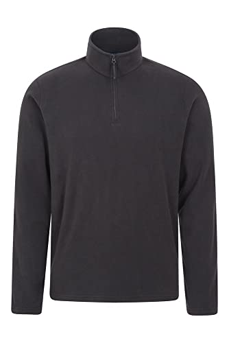 Mountain Warehouse Mens Camber Fleece Top - Lightweight Top, Breathable Sweater, Quick Drying Pullover, Extra Ventilation - Ideal for Winter Walking Black M