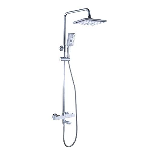Sistema de ducha termostático plateado, juego de ducha deslizante para baño con cabezal de ducha con grifo de salida superior, juego de mezclador de ducha de lluvia de altura ajustable para dormitori