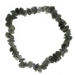 CrystalAge Pulsera de cuarzo turmalinado con chip de piedras preciosas
