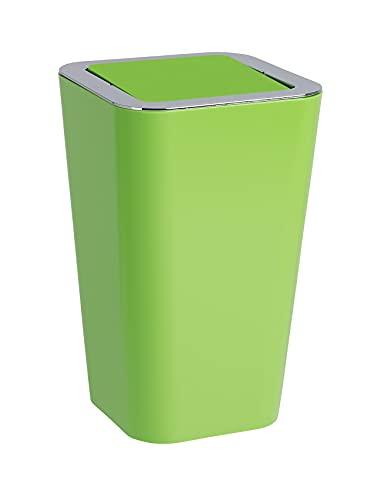 WENKO Schwingdeckeleimer Candy Green - Abfallbehälter mit Schwingdeckel Fassungsvermögen: 6 l, Polystyrol, 18 x 28.5 x 18 cm, Grün