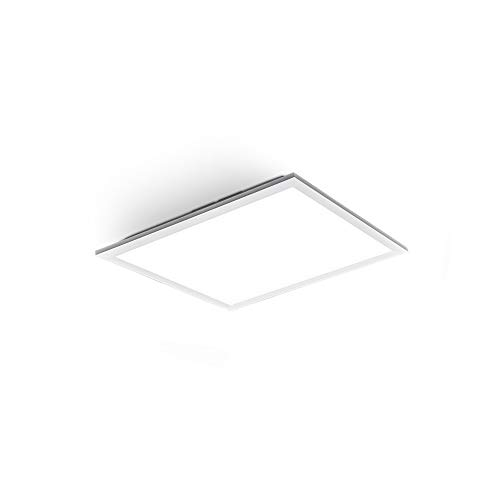 B.K.Licht Plafoniera LED per ufficio, Pannello da soffitto da 12W, 1300Lm, luce bianca neutra, Ultrapiatto 55mm, Lampada da soffitto o parete moderna, quadrata lato 29,5cm, Bianca