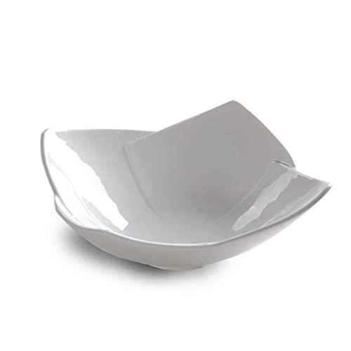 YNHNI 2 piezas blanco de cuatro hojas de porcelana tazón familiar cena lechuga plato hotel restaurante vajilla (tamaño: 10.5)