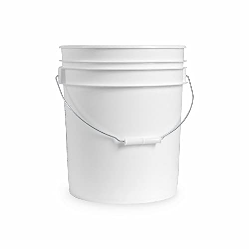 5 Gallon White Plastic Bucket Only - Durable 90 Mil All Purpose Pail - Food Grade Buckets NO LIDS Included - Contains No BPA Plastic - Recyclable - 6 Pack Buckets ONLY
