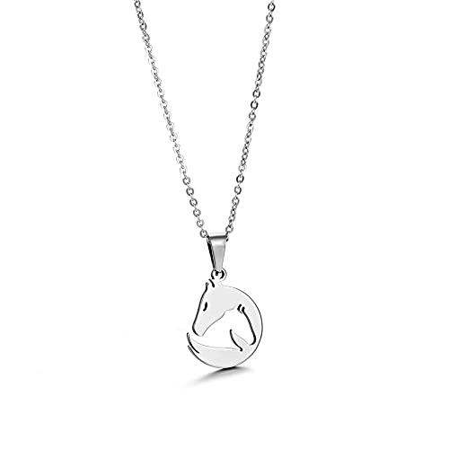 YQMR Colgante Collar para Mujer,Elegante Collar De Dama Diseño De Moda Plata Grabado Hueco Cabeza De Caballo Colgante Mujeres Joyería Amuleto Regalo para Novia Amiga Mamá