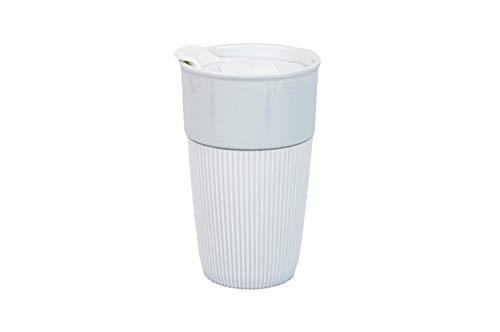 HotDrink2Go Coffee to go Becher, Premium Porzellan, 400ml (Weiß)
