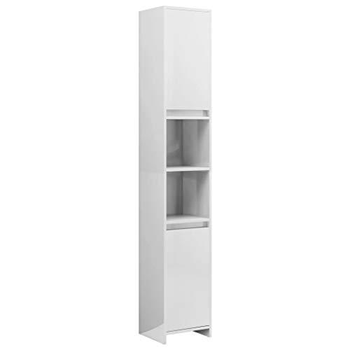 vidaXL Badezimmerschrank mit 6 Fächern 2 Türen Badschrank Badregal Badmöbel Schrank Badezimmer Regal Hochschrank Hochglanz-Weiß 30x30x183,5cm Spanplatte