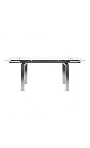 CAMINO A CASA - Table à rallonges Verre et Chrome Urban Empire 140-200 cm