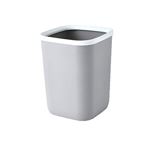 WYWY Papelera Trash Can Cuadrado de plástico sin Cubierta de Basura Papelera de Reciclaje Caja de la Cocina Bin Papelera for Hotel Baño Cocina Cubo de Basura (Color : Gris)