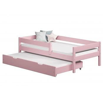 Children's Beds Home - Cama individual con nido - Mateo para niños niño niño niño menor - Mateo - 180x80, rosa, 10 cm de espuma / coco colchón
