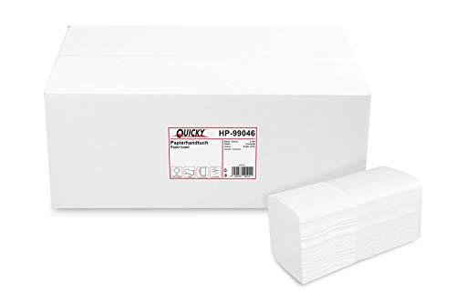 Quicky Papierhandtuch, Z-Interfold, 21 x 31,5 cm, 2lag, hochweiß, 3200 Blatt, 1er Pack (1 x 1 Stück)