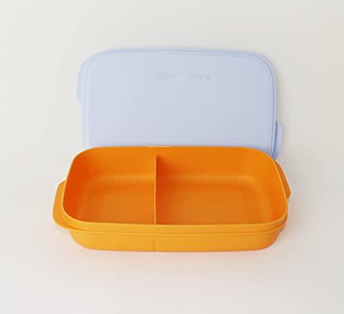 Tupperware Clevere Pause 590 ml con 2 compartimentos naranja/azul claro + cuchara colgante roja