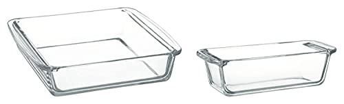iwaki(イワキ) 耐熱ガラス ケーキ型 ケーキ焼き皿 グラタン皿 角型 25.5×21×6cm KBC222 & 耐熱ガラス ケーキ型 パウンドケーキ型 角型 18×8cm用 KBC211 【セット買い】