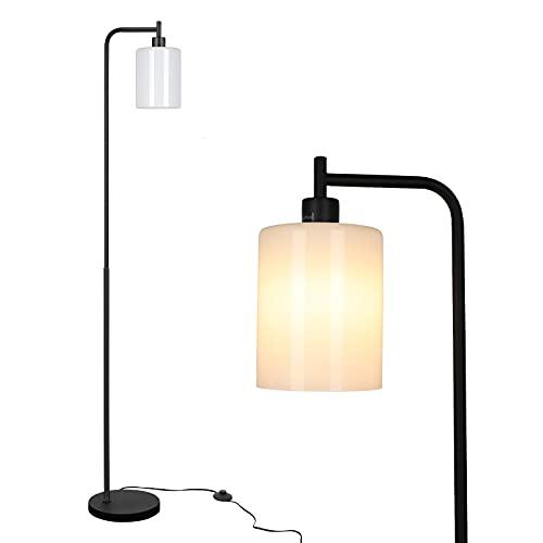 Linkind Lámpara de pie LED de estilo industrial, lámpara de pie con interruptor de pie de metal y cristal, incluye bombilla E27, luz blanca cálida, lámpara de lectura retro, ideal para dormitorio