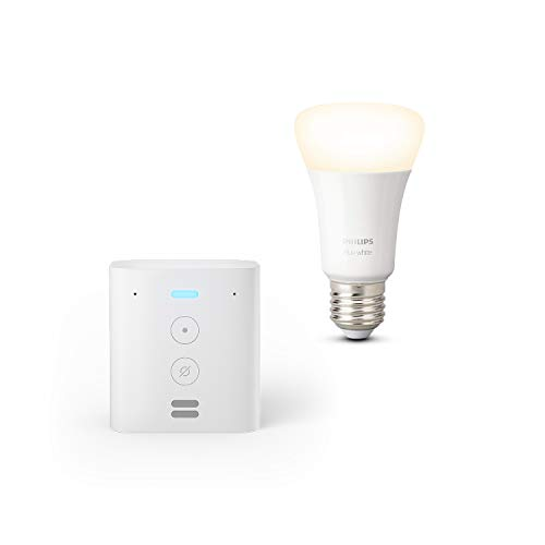 Echo Flex + Philips Hue Ampoule Connectée White (E27), compatible avec Bluetooth...