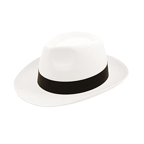 The Fancy Dress® Sombrero de gángster de la mafia de los años 20, negro y blanco, blanco, Talla única