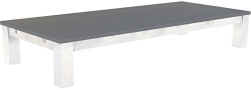 Brasilmöbel - Tavolino da salotto 'Rio Classico', 240 x 100 x 35 cm, in legno massiccio di pino di colore grigio seta - bianco