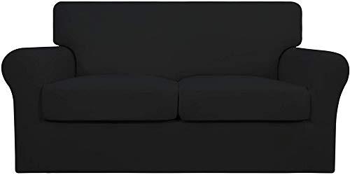 Mazu Homee Juego de sofá suave elástico de 3 estilos (utilizado para 2 alfombrillas suaves separadas), adecuado para mascotas, funda protectora elástica para muebles de niños (gris oscuro)