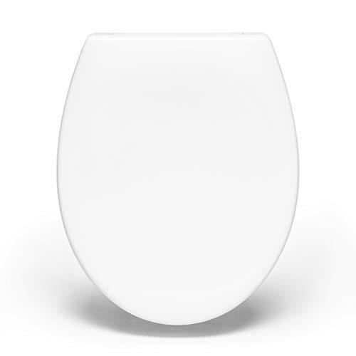 Bullseat® 8.1 Premium Toilettendeckel oval weiß. Klodeckel mit Softclose Absenkautomatik & abnehmbar. Antibakterielle Klobrille aus Duroplast & rostfreiem Edelstahl abnehmbar.(Klassisch)
