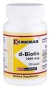 d-Biotin 1000 mcg (120 count) - Hypoallergenic - Kirkman Laboratories