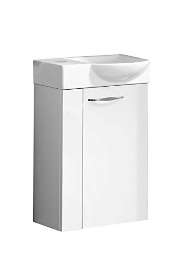 FACKELMANN SCENO Gäste WC Set rechts 2 Teile/Keramik Waschbecken/Waschbeckenunterschrank mit 1 Tür/Soft-Close/Türanschlag rechts/Korpus: Weiß/Front: Weiß/Blende: Weiß/Breite: 45 cm