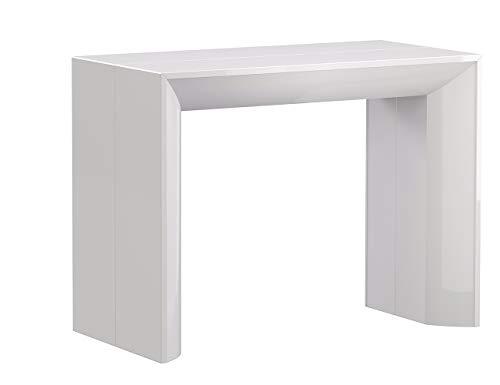 Iconico Home TELESCOPIC, Tavolo consolle allungabile con 5 prolunghe fino a 280,5 cm, Ingresso, Soggiorno, Sala da Pranzo, 90x48xh76 cm, Bianco lucido