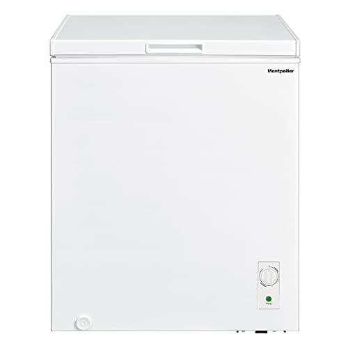142ltr Chest Freezer in White with Built in Hinges, F Rated and 1 x Freezer Basket - Freezer to Fridge Conversion