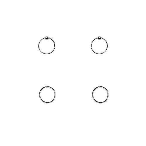 4 aros nariz finos, plata de ley 925, 7mm diámetro interior, 0,6mm grosor, 2 aros lisos sin cierre mas 2 aros con bola de cierre.