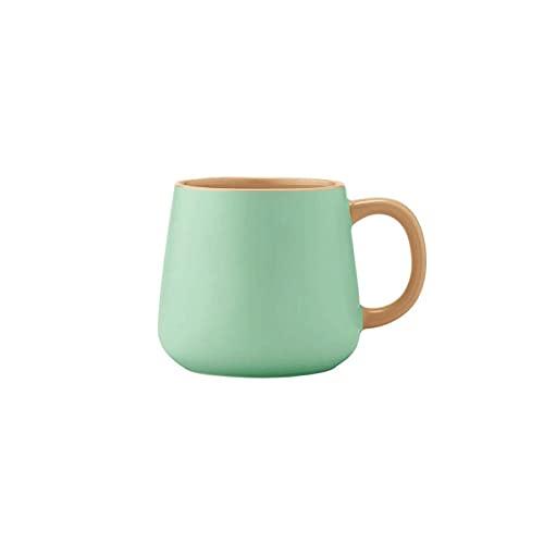 Kjgasutq Tcb - Taza de té de porcelana con asa, taza de té resistente, perfecta para oficina y uso doméstico, 400 ml (verde)