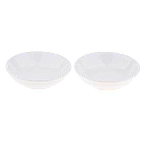 Fityle 2 Pack White Professional Round Ceramic Dish Tray Bowl Lid For Electric Oil Aromatherapy Burner Warmer Fragrance Scent Diffuser(3.8 inch)