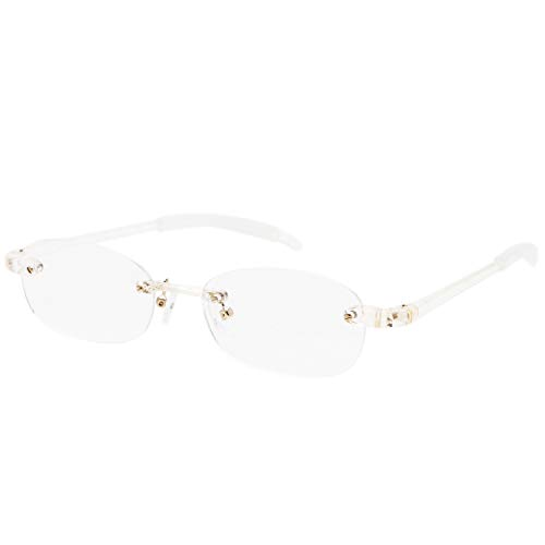 藤田光学 老眼鏡 メンズ 2.5 度数 ふちなし 読書グラス 弾性樹脂フレーム ホワイト TP-11WT+2.50