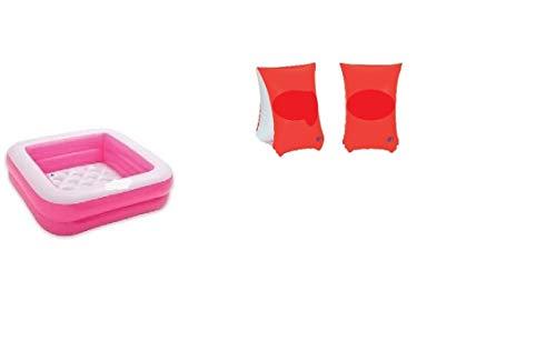 Bavaria Home Style Collection - Planschbecken Baby-Pool Baby Duschwanne Play Box Pool 85 x 85 cm Höhe 23 cm aufblasbarer Boden Badespaß in grün oder rosa (rosa)