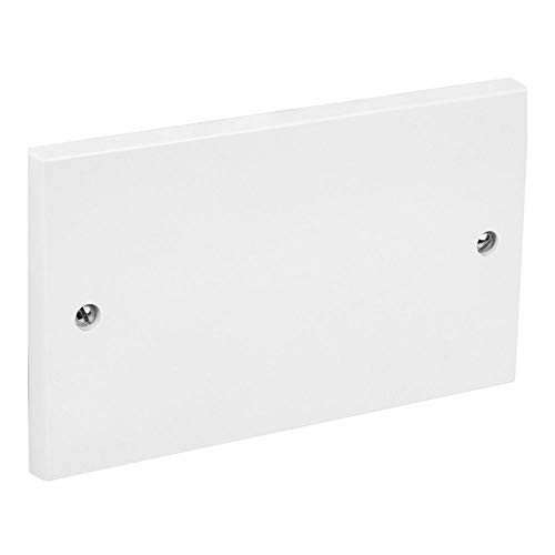 2 Gang Double Twin Blank Plate Cover White Plastic