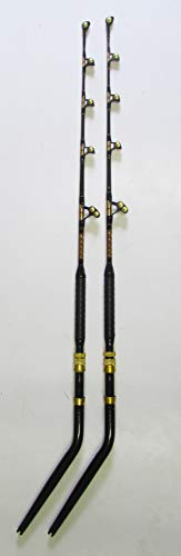 Xcaliber Marine Pair (2) Goliath Series 80-130lb Saltwater Trolling Rod (Red & Gold)